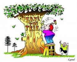 Save the Tree cartoon